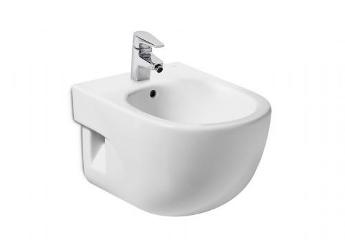 Roca Meridian-N Compact Wall Hung Bidet - Soft Close Bidet Cover - 1 Tap Hole - White